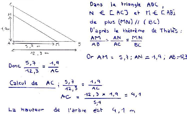 redaction theoreme de thales